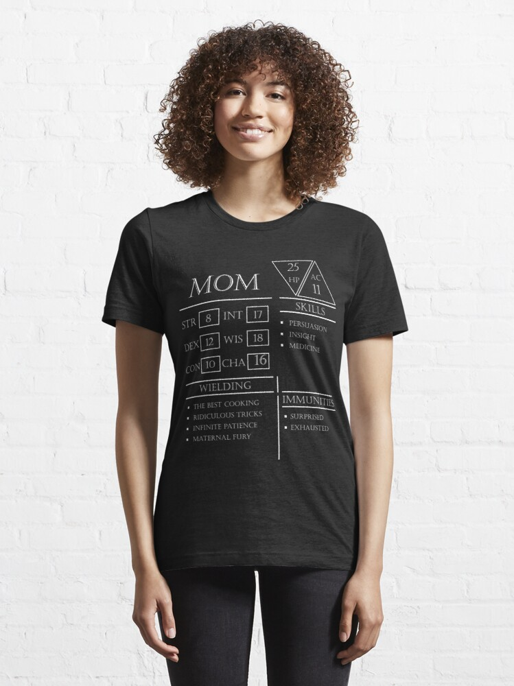 Alternate view of Mom Stats - Character Sheet - White Essential T-Shirt