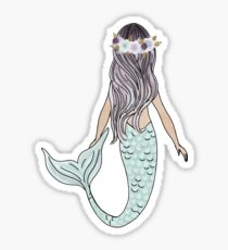 Floral Crown Mermaid Sticker