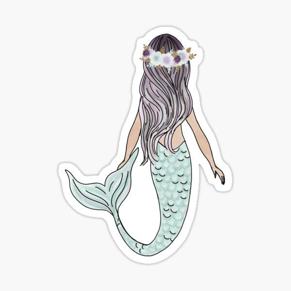 Floral Crown Mermaid Sticker