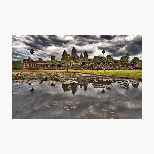 Dark clouds over Angkor Wat Photographic Print