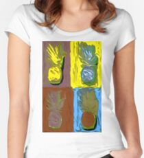 POP ART PINEAPPLES | FENCE ART-BY JANE HOLLOWAY Women's Fitted Scoop T-Shirt