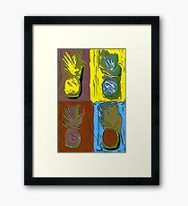 POP ART PINEAPPLES | FENCE ART-BY JANE HOLLOWAY Framed Print