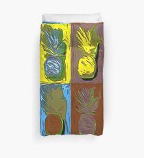 POP ART PINEAPPLES   FENCE ART-BY JANE HOLLOWAY Duvet Cover
