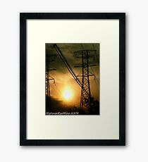#362           Sunset With Powerlines Framed Print