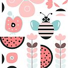 Funny bee and fruits by cocodes
