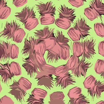 SPIRALIZED PINEAPPLE POP ART| LIGHT GREEN | PASSIONATE BLUSH PINK  by cradox
