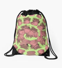 SPIRALIZED PINEAPPLE POP ART| LIGHT GREEN | PASSIONATE BLUSH PINK  Drawstring Bag