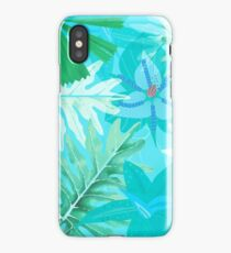 Abstract teal Aloha Tropical Foliage Pattern iPhone Case