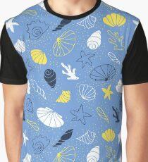Seashells, starfish and corals in water Graphic T-Shirt