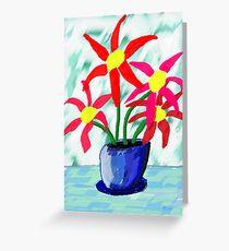 Primitive Vase & Flowers Greeting Card