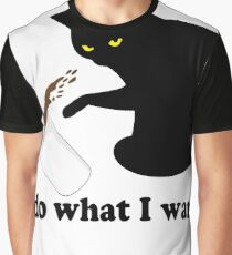 Do What I Want Black Cat White Coffee Cup Funny T-Shirt Graphic T-Shirt