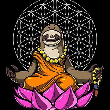 Sloth Buddha Zen Yoga Meditation Flower Of Life by underheaven