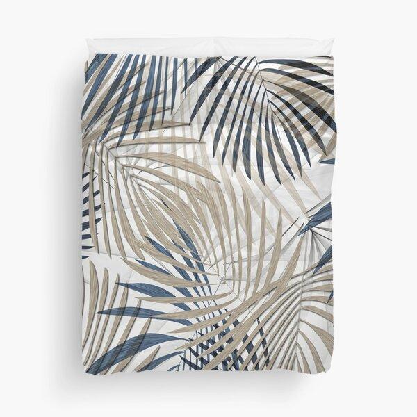 White, Navy, and Khaki Palm Print Duvet Cover