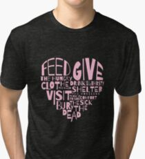Corporal World With Spiritual Heart Religious Gift Tri-blend T-Shirt