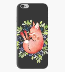Sleeping fox and blue berries iPhone Case