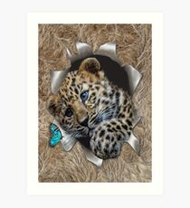Baby Leopard Popping out Art Print