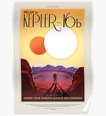 Entspannen Sie sich auf Kepler 16b - Exoplanet Travel Bureau, JPL Travel Poster, Visionen der Zukunft, NASA, Planeten Poster