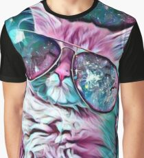 Space Cat Glasses Cute Graphic T-Shirt