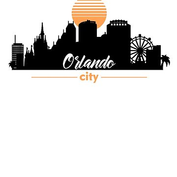 Orlando Florida Graphic Skyline with Sunset by IvonDesign