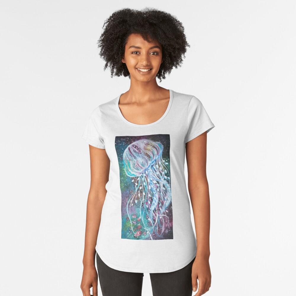 Espacio Medusas florales Camiseta premium de cuello ancho