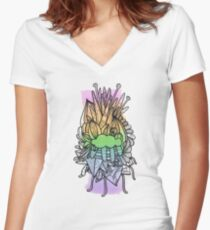 Pastel Rainbow Blocks with Runcible Mandala Women's Fitted V-Neck T-Shirt