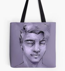 Man in Purple Tote Bag