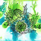 Green and Blue Watercolour Drops with a Runcible Mandala Overlay by TakoraTakora