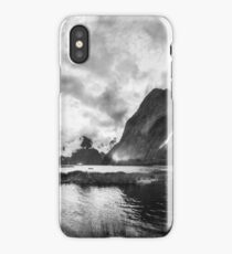 Dramatic weather at Milford Sound in black and white iPhone Case