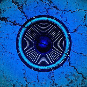 Cracked blue music speaker by steveball