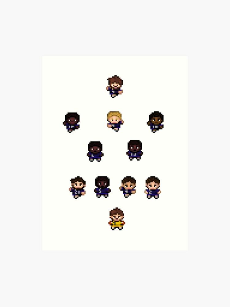 French Team World Cup Football Pixel Art Art Print