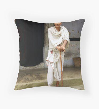 Monk on Majuli Island, India Throw Pillow