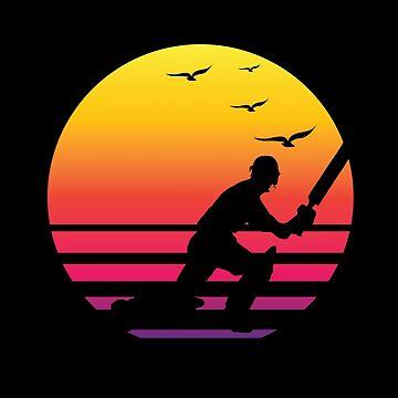 Cricket retro sunset, #Cricket  by handcraftline