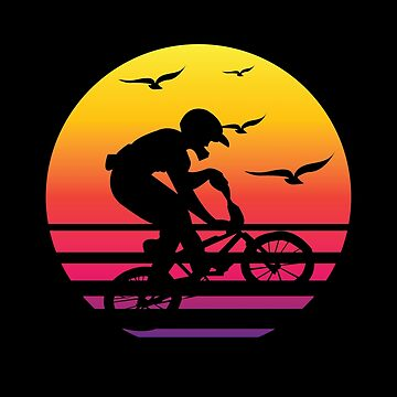 cross bike retro sunset, #cross bike  by handcraftline