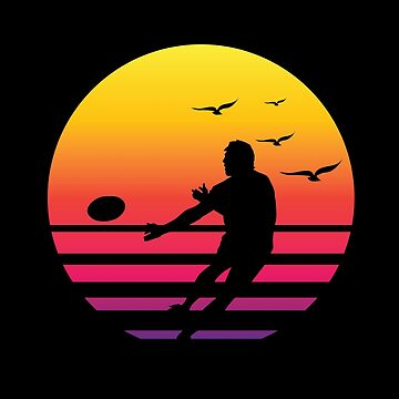 rugby retro sunset, #rugby  by handcraftline
