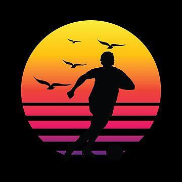 Soccer retro sunset, #Soccer  by handcraftline