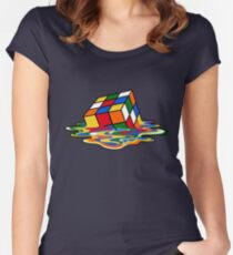 Melting Rubiks Cube: Sheldon from 'The Big Bang Theory' Cool Nerdy Gift Ideas! Women's Fitted Scoop T-Shirt