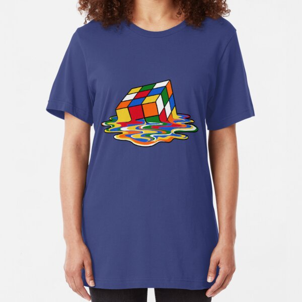 Melting Rubiks Cube: Sheldon from 'The Big Bang Theory' Cool Nerdy Gift Ideas! Slim Fit T-Shirt