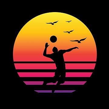 volleyball retro sunset, #volleyball  by handcraftline