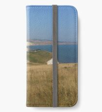 Tennyson Down looking down to Freshwater Bay on the Isle of Wight iPhone Wallet/Case/Skin