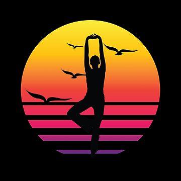 yoga retro sunset, #yoga  by handcraftline