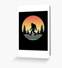 Retro Bigfoot Silhouette Sun Believe! Greeting Card
