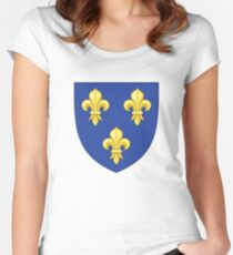 Blason France moderne French royal golden yellow fleur de lys lis blue King of France coat of arms vintage white background Women's Fitted Scoop T-Shirt