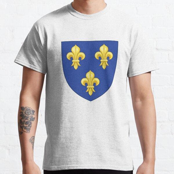 Blason France moderne royal doré jaune fleur de lis bleu roi du royaume de France blason vintage fond blanc HD HAUTE QUALITÉ T-shirt classique