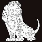 Color Me Basset Hound Sugar Skull by J-CCreations