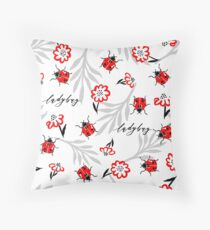 Ladybugs, leaves and flowers on white background. Throw Pillow