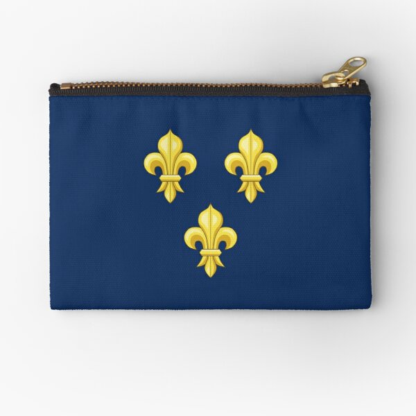 Blason France moderne French royal golden yellow fleur de lys lis blue King of France coat of arms vintage dark navy background HD HIGH QUALITY Zipper Pouch