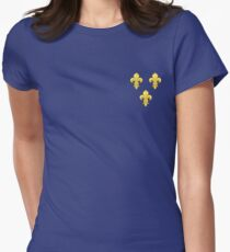 Blason France moderne French royal golden yellow fleur de lys lis blue King of France coat of arms vintage dark navy background Women's Fitted T-Shirt