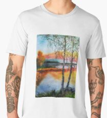 Two birch trees at sunset Men's Premium T-Shirt