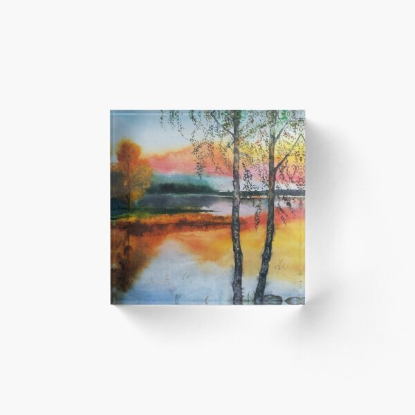Two birch trees at sunset Acrylic Block