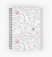 Tea Lady,Snow and Flowers-Garden Tea Party Spiral Notebook